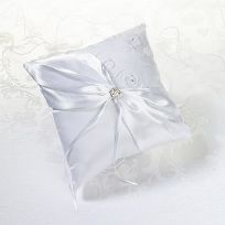 White Lace Wedding Ring Cushion